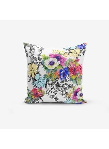 Real Homes Renkli Çiçek Baskılı Dekoratif Yastık Kırlent Kılıfı Renkli
